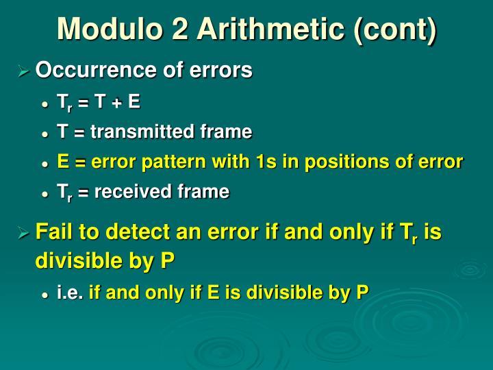 Modulo 2 Arithmetic (cont)