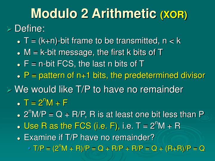 Modulo 2 Arithmetic