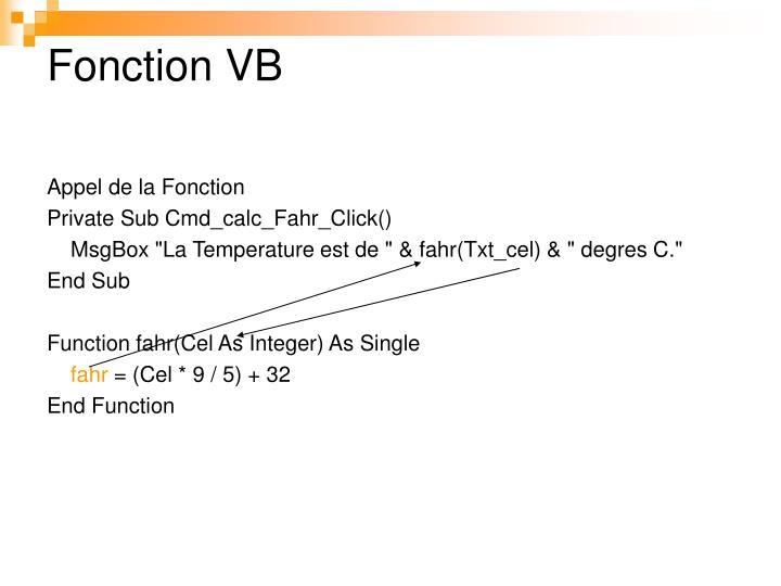 Fonction VB