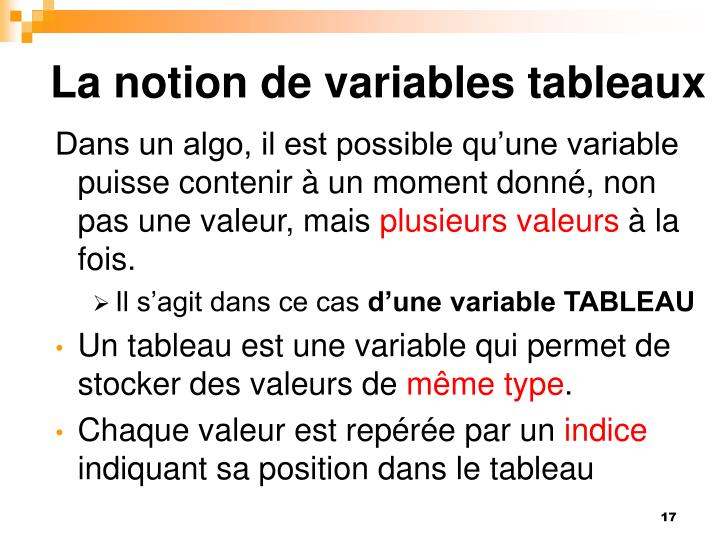 La notion de variables tableaux