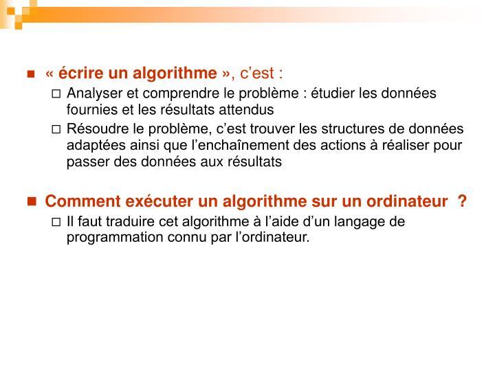 « écrire un algorithme »