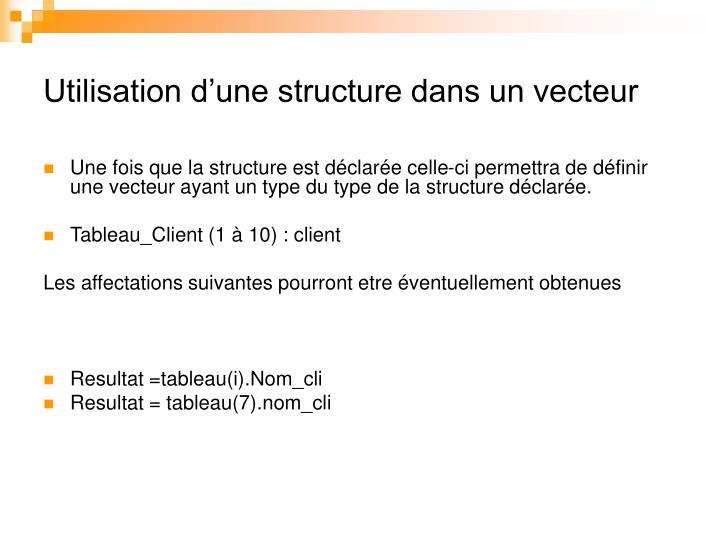 Utilisation d'une structure dans un vecteur
