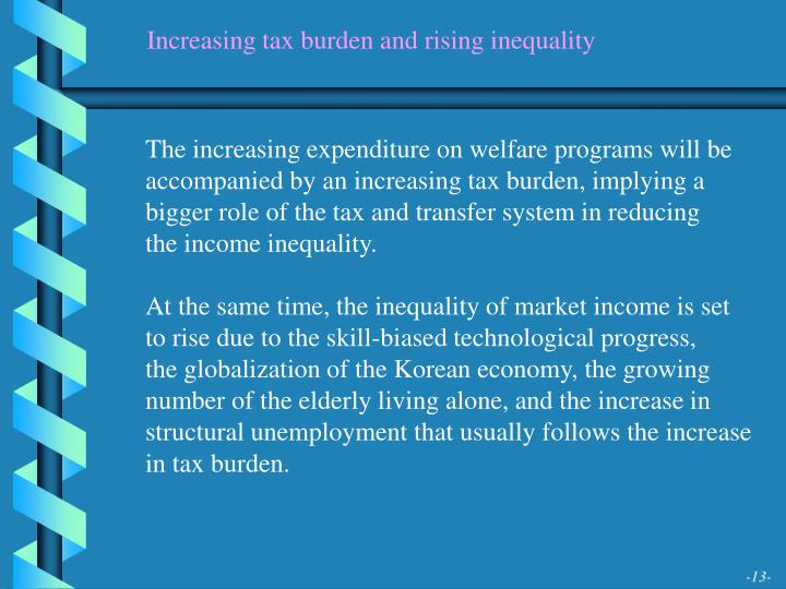 Increasing tax burden and rising inequality