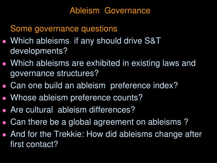 Ableism  Governance