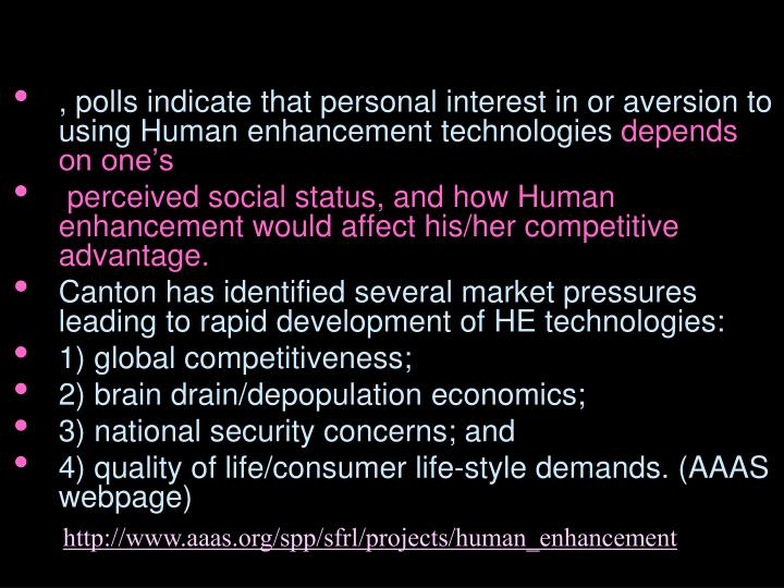 , polls indicate that personal interest in or aversion to using Human enhancement technologies