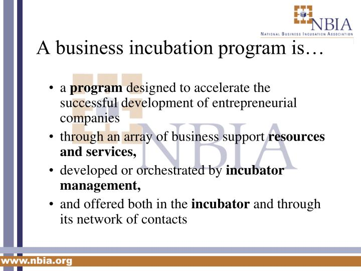 A business incubation program is
