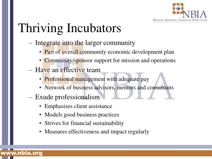 Thriving Incubators