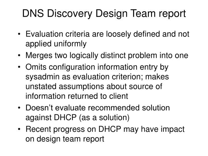 Dns discovery design team report