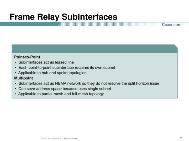 Frame Relay Subinterfaces