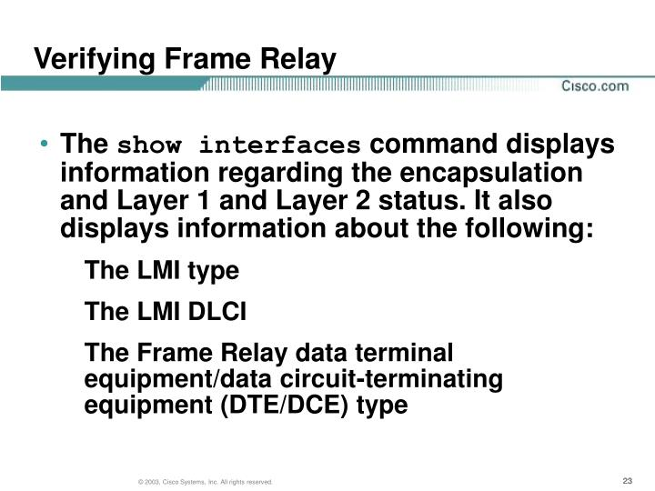 Verifying Frame Relay
