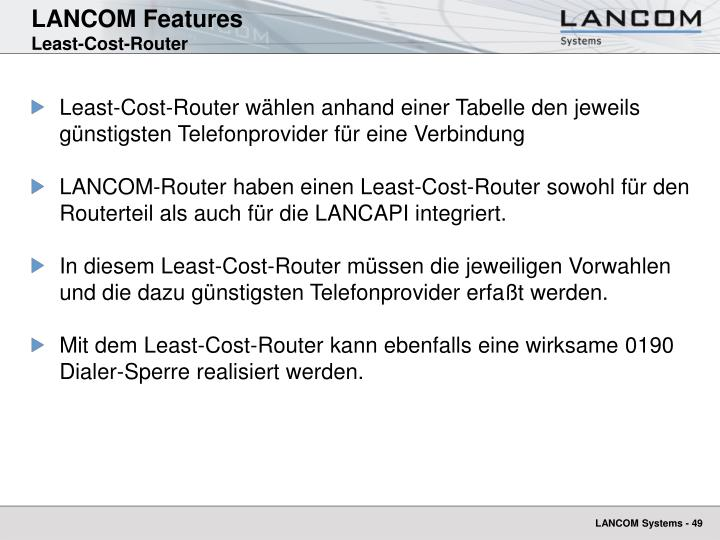 Lancom features least cost router