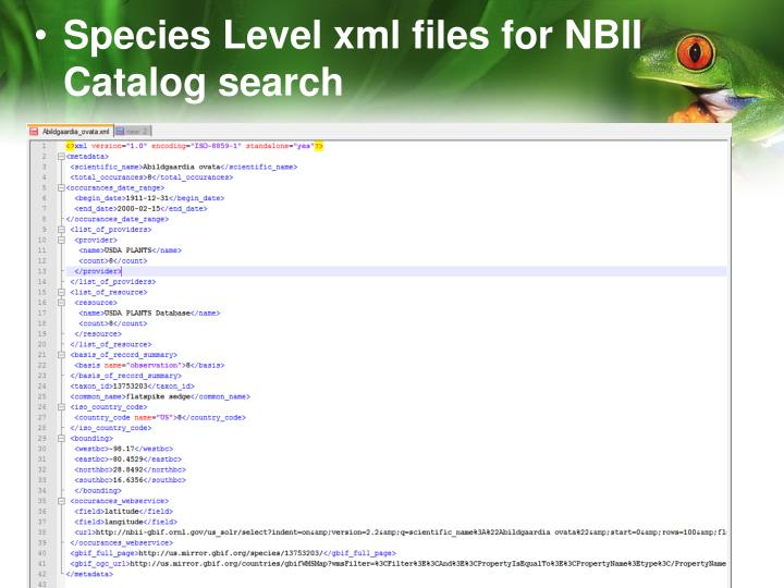 Species Level xml files for NBII Catalog search