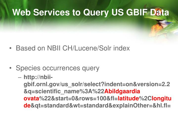 Web Services to Query US GBIF Data