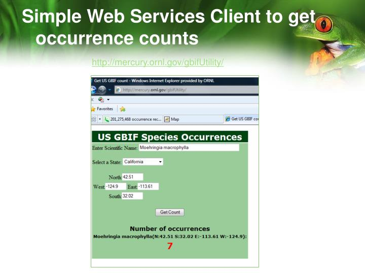 Simple Web Services Client to get occurrence counts