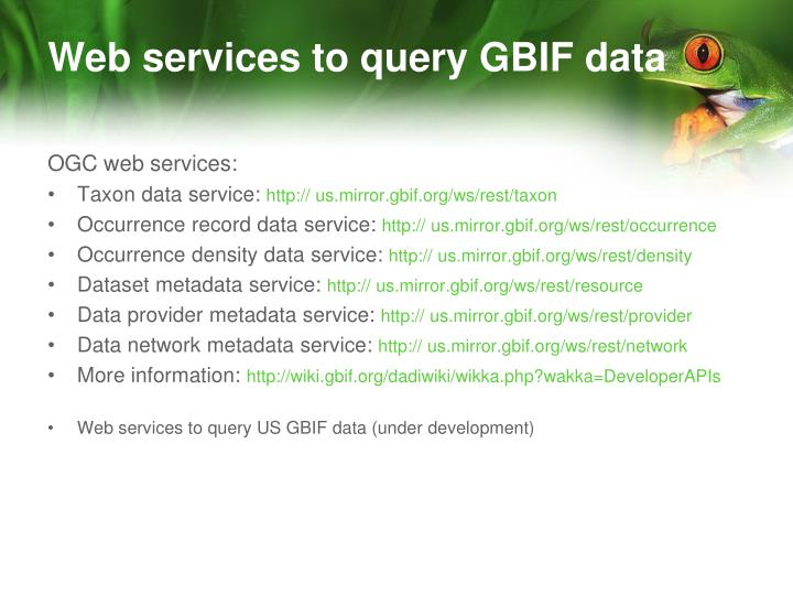 Web services to query GBIF data