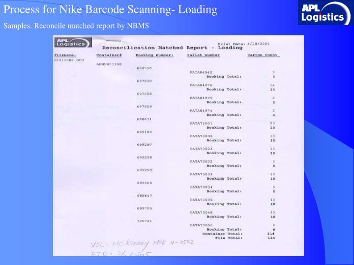 Process for Nike Barcode Scanning- Loading