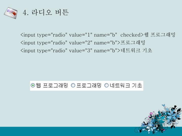 "<input type=""radio"" value=""1"" name=""b""  checked>"
