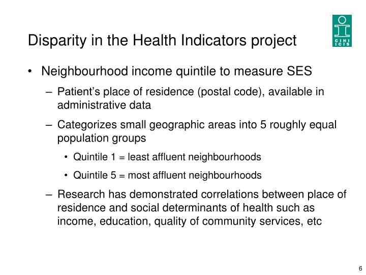 Disparity in the Health Indicators project