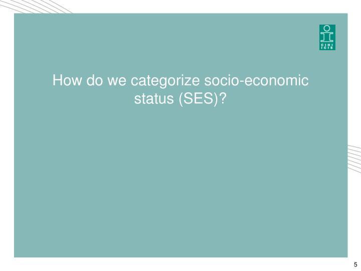 How do we categorize socio-economic status (SES)?
