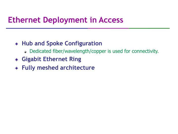 Ethernet Deployment in Access