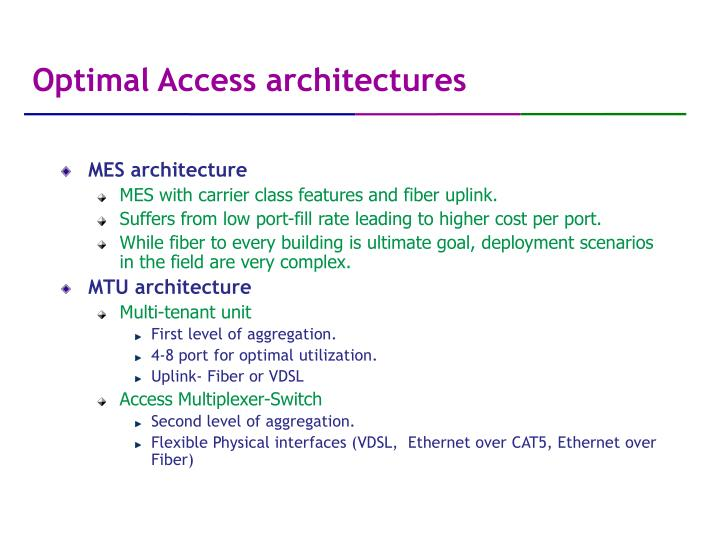 Optimal Access architectures
