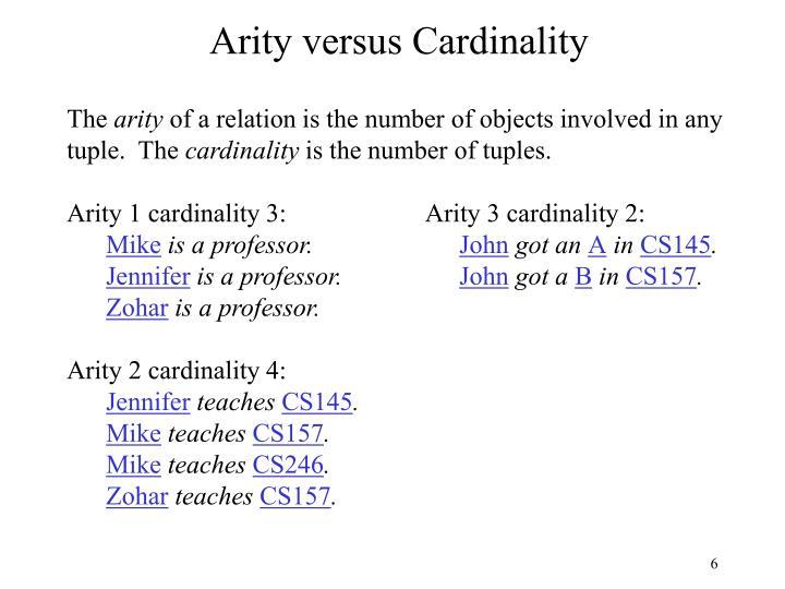 Arity versus Cardinality