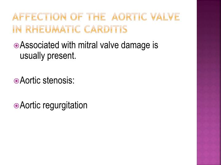 Affection of the  Aortic Valve  in rheumatic