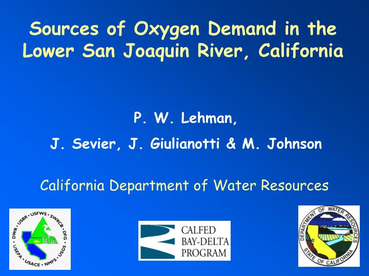 Sources of Oxygen Demand in the Lower San Joaquin River, California