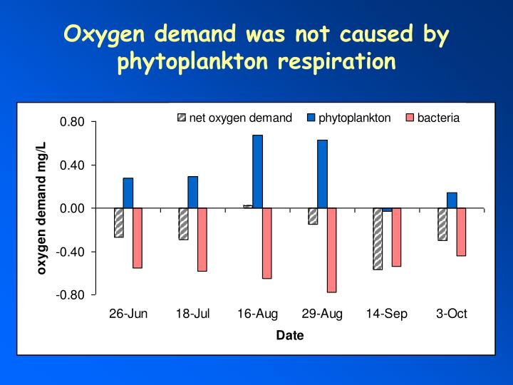 Oxygen demand was not caused by phytoplankton respiration