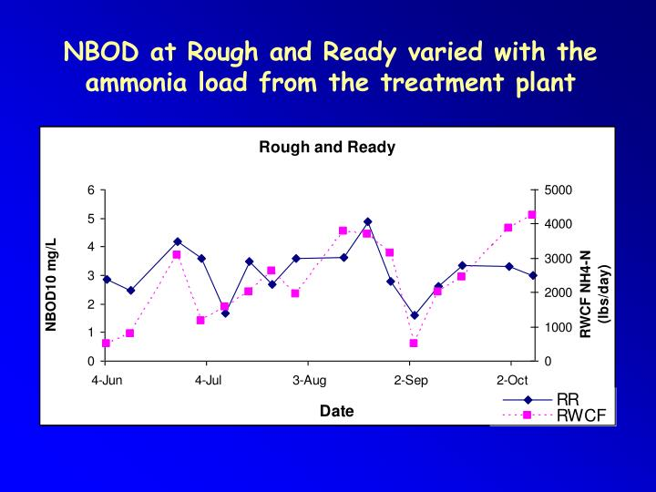 NBOD at Rough and Ready varied with the ammonia load from the treatment plant