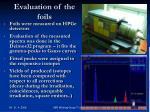 evaluation of the foils