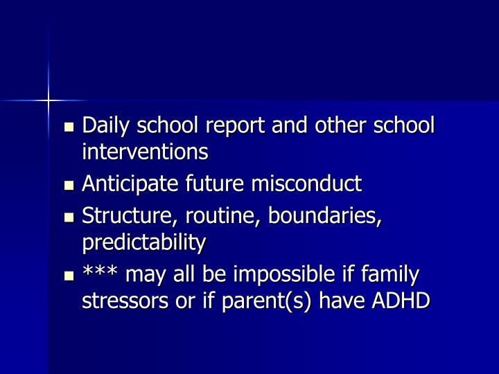 Daily school report and other school interventions