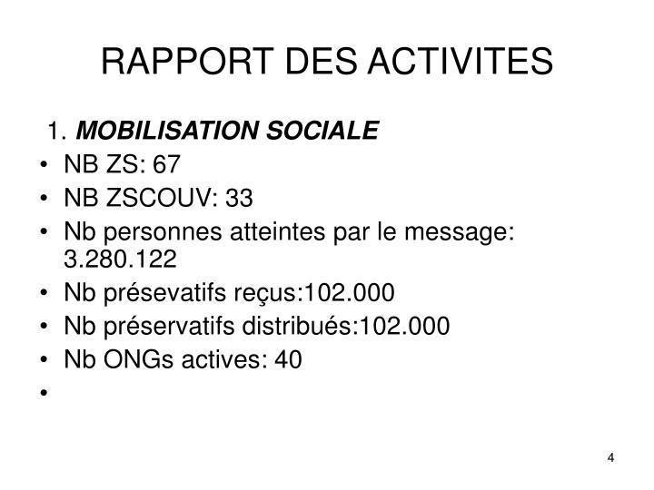 RAPPORT DES ACTIVITES