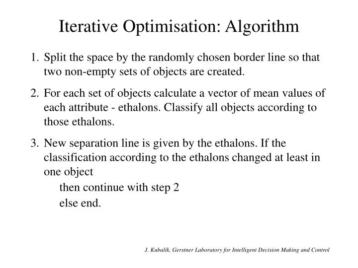 Iterative Optimisation: Algorithm