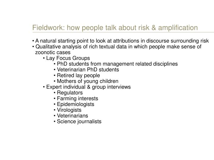 Fieldwork: how people talk about risk & amplification