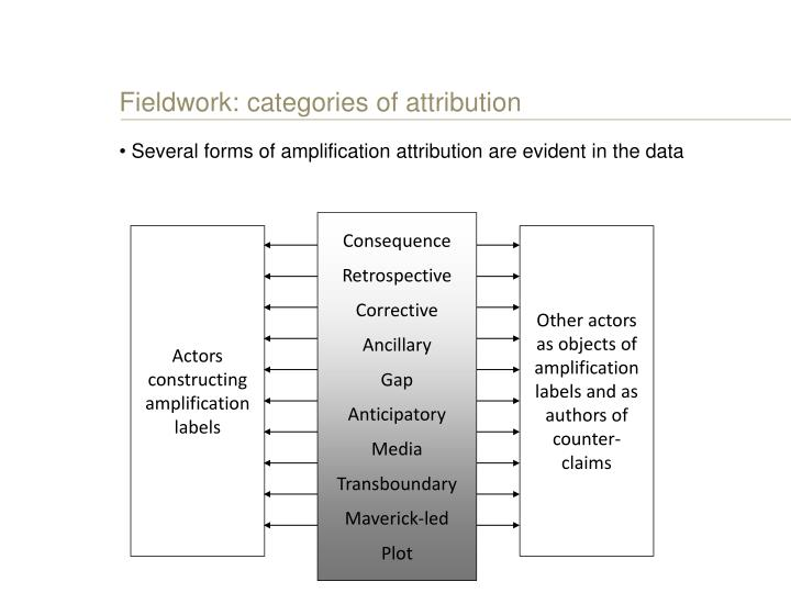 Fieldwork: categories of attribution