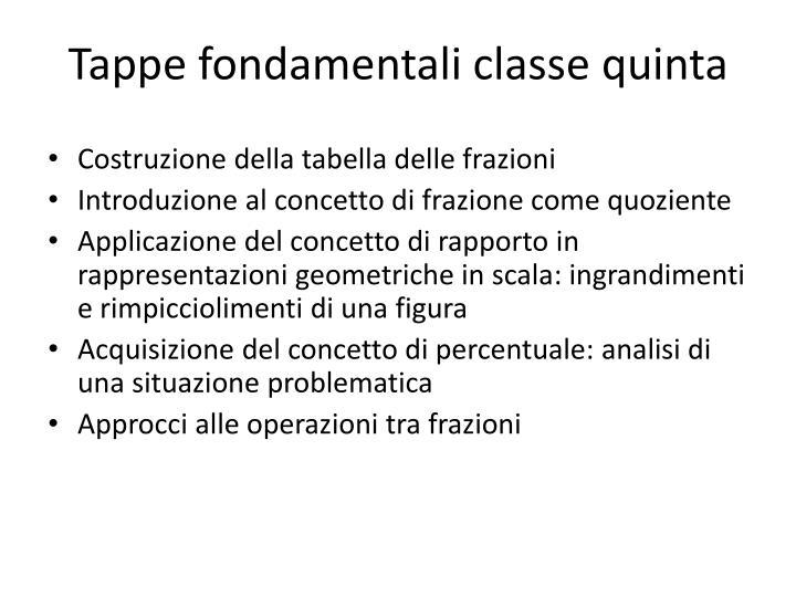 Tappe fondamentali classe quinta