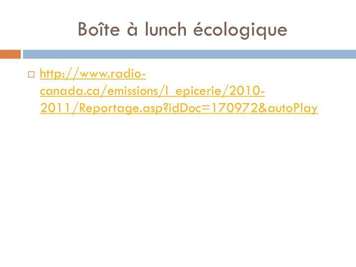 Boîte à lunch écologique