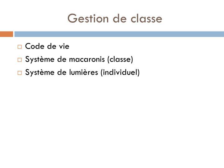 Gestion de classe