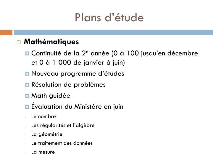 Plans d'étude