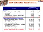 2009 estimated requirements1