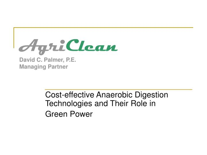 Agri clean david c palmer p e managing partner