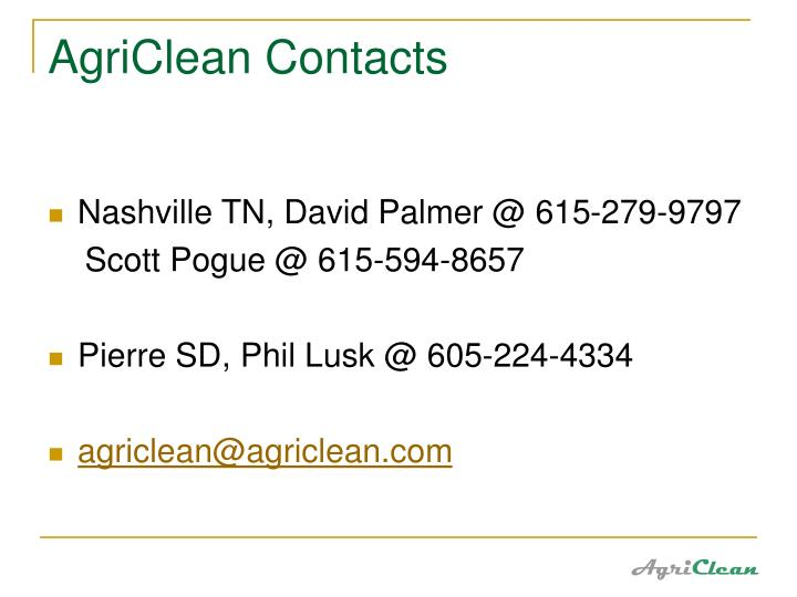 AgriClean Contacts