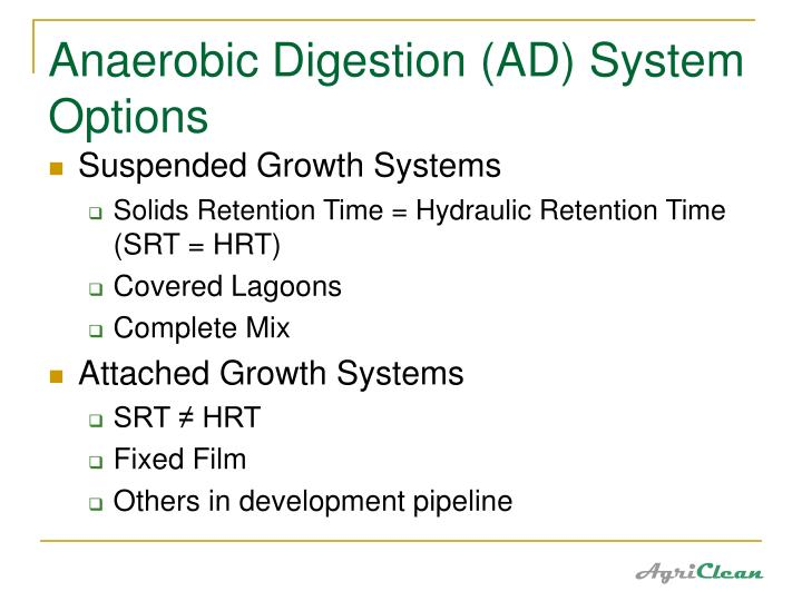 Anaerobic Digestion (AD) System Options