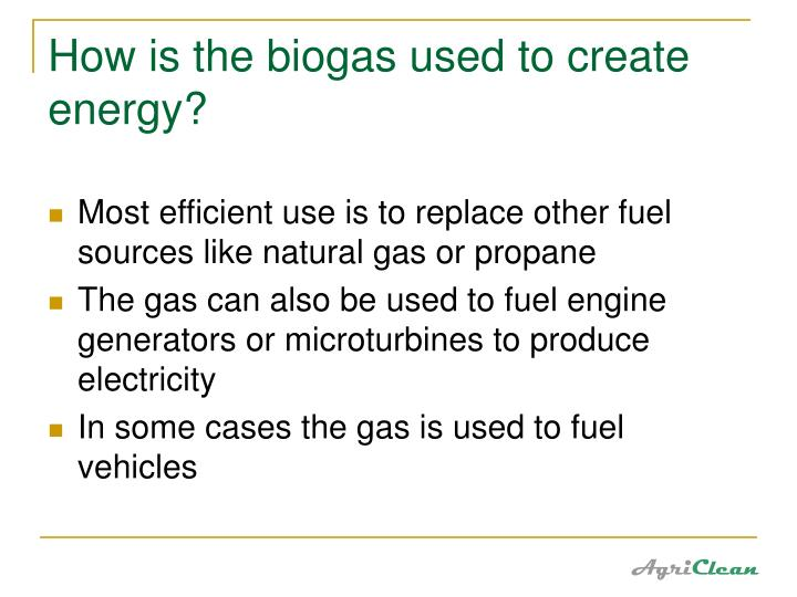 How is the biogas used to create energy?