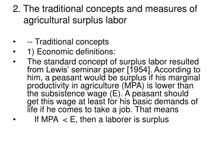 2. The traditional concepts and measures of