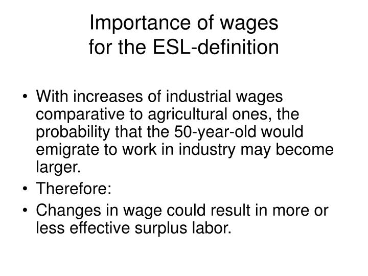 Importance of wages