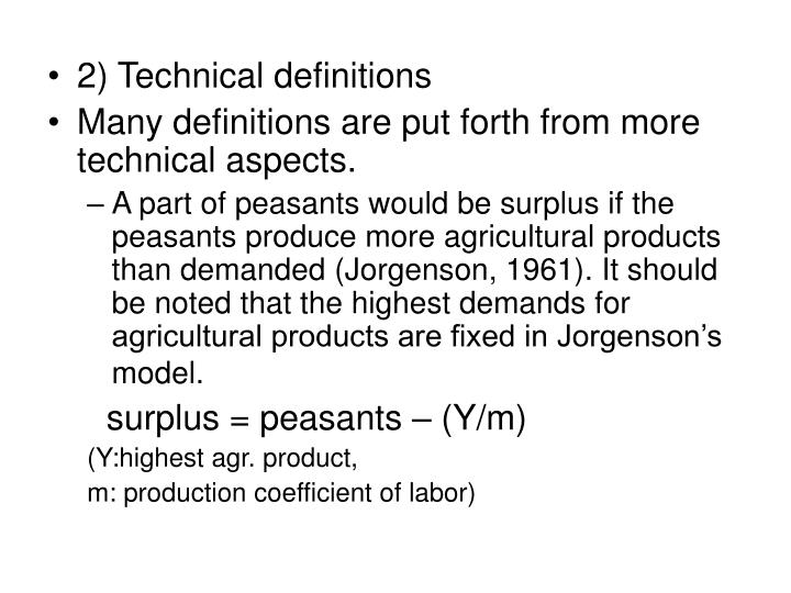 2) Technical definitions