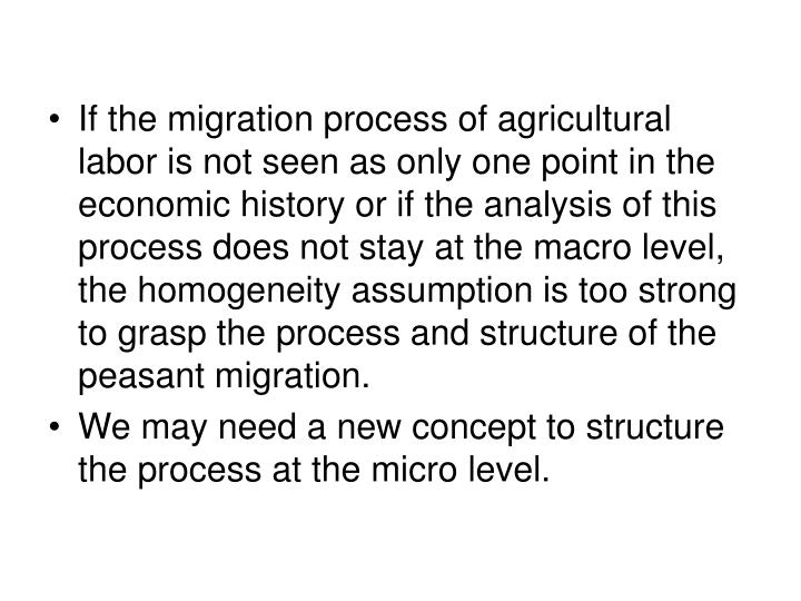 If the migration process of agricultural labor is not seen as only one point in the economic history or if the analysis of this process does not stay at the macro level, the homogeneity assumption is too strong to grasp the process and structure of the peasant migration.