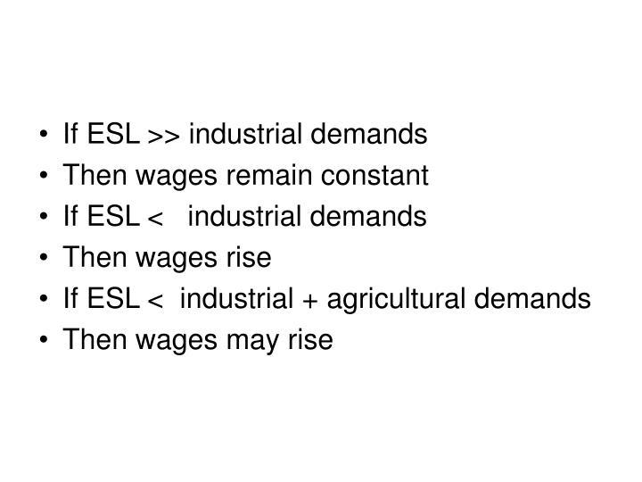 If ESL >> industrial demands